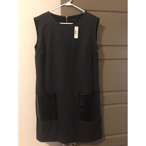 Women's Heather Gray and Leather Shift Dress NWT